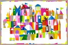 "Kingdom Color (a mary blair tribute) - kfay - Spoonflower --- This soooo makes me think of ""It's A Small World"""