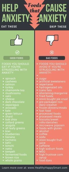 Foods for Anxiety - foods that help and foods to avoid! Healthy. Happy. Smart. #FoodsForAnxiety #EatThese #SkipThese