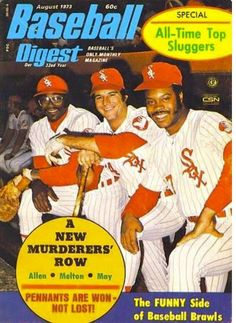 Dick Allen, Bill Melton and Carlos May in red White Sox pinstripes on the cover of the August Baseball Digest. Dig May's right thumb stump, the result of a mortar accident while serving in the US Marine reserves. White Sox Baseball, Baseball Classic, Baseball Socks, Baseball Cards, Baseball Uniforms, Baseball Players, Basketball Leagues, Basketball Legends, Basketball Hoop