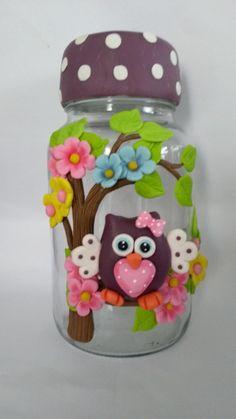 Vidro com biscui Tin Can Crafts, Clay Pot Crafts, Polymer Clay Crafts, Polymer Clay Creations, Handmade Polymer Clay, Jar Crafts, Diy And Crafts, Clay Jar, Clay Mugs