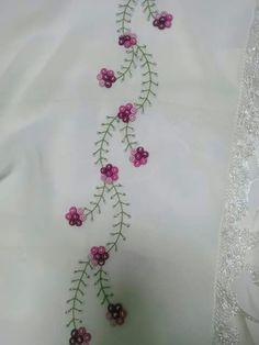 N Hand Embroidery Videos, Hand Embroidery Flowers, Embroidery Works, Simple Embroidery, Hand Embroidery Designs, Embroidery Patterns, Sewing Stitches, Embroidery Stitches, Chudi Neck Designs