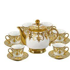 13 Pieces Porcelain Gilded Vintage Tea Set
