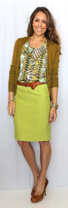 J's Everyday Fashion [blog] - LOOOVE the chartreuse pencil skirt!! Who would have thought???