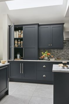 Available in a range of different colours and personalisation options, our Shaker Style Kitchens are designed to suit your home. Book a design consultation. Modern Shaker Kitchen, Modern Kitchen Cabinets, Kitchen Cabinet Design, Kitchen Layout, Aga Kitchen, Kitchen Grey, Kitchen Storage, Apartment Kitchen, Home Decor Kitchen
