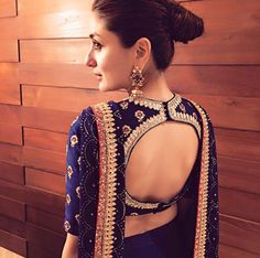 Blouse back neck designs have been a rage. Here are 54 stylish back neck blouse designs, Pick the best blouse to complement your designer saree. Blouse Back Neck Designs, Sari Blouse Designs, Designer Blouse Patterns, Bridal Blouse Designs, Blouse Styles, Saree Styles, Choli Designs, Choli Back Design, Sari Bluse