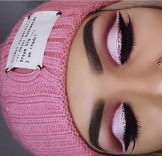 Pink glitter cut crease eye makeup #glittercutcrease