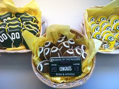 Packers football baby shower cookies - cute idea but I would try it with Bears colors. Go Bears!