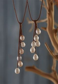 Fine Pearls and Leather Jewelry by Designer Wendy Mignot Rain Six Freshwater Necklace White