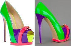 Neon heels - them! Dream Shoes, Crazy Shoes, Me Too Shoes, Stiletto Shoes, Shoes Heels, Neon Heels, Colorful Heels, Shoe Art, High Heel Pumps