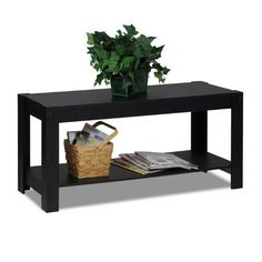Buy Furinno Parsons Entertainment Center TV Stand/Coffee Table (Black) with fast shipping and top-rated customer service. Tv Stand And Coffee Table, Black Coffee Tables, Cool Coffee Tables, Coffee Table With Storage, Flat Panel Tv, Contemporary Coffee Table, Low Shelves, Shelf, Center Table