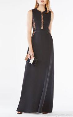 4eb0c9f4c3c0 Ashkee Floral Lace Paneled Satin BCBG Evening Gown Black 2016