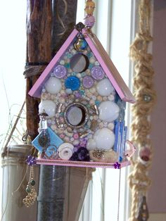 Whimsical >A Day At The Beach < Birdhouse (for SALE)