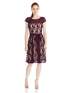 Julian Taylor Womens Petite Lace Dress with Illusion Top P PlumBeige 8P *** Want additional info? Click on the image.