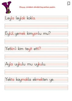 1. Sınıf Okuma Y Sesi Cümleler Homeschool, Education, Turkish Language, Reading, Onderwijs, Homeschooling, Learning