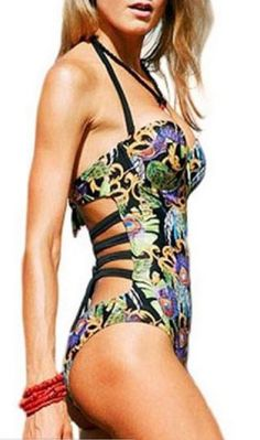 Love the Swimsuit! Bohemian Style Print Halterneck One-Piece Swimwear #Bohemian #Style #Print #Beach #Swimwear #Fashion