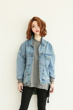 Latte Denim Jacket | Korean Fashion