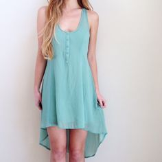 green high low dress offers welcome sea foam green sheer high low dress with button up bust and attached slip. size not indicated on tag but fits like a small. •671087•  website: XOmandysue.com  sign up for surprise, stylist-curated monthly looks based on your style! use code first25 to get your first outfit for just $25!  instagram: XOmandysue BB Dakota Dresses High Low