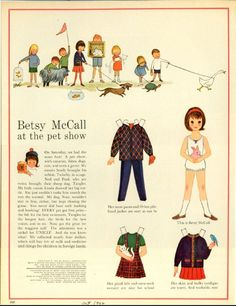 Vintage October 1962 Magazine Paper Doll of Betsy McCall at the Pet Show