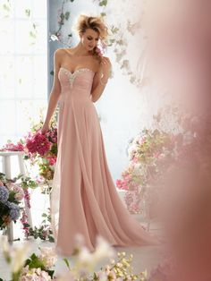 Pink prom dress chiffon formal evening dress/sweetheart and deep v back long prom dress/bridesmaid dress/graduation dress/home coming dress on Etsy, $149.00