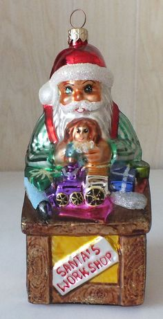 "Christopher Radko Glass Ornament ""Santa's Workshop"" 1996 Christmas"