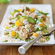 Coconut Curried Pork. Make with brown rice instead of white and with fresh mango or pineapple.