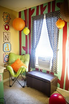 Colorful nursery with accent wall