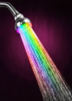 Color changing Shower head with LED powered by  water pressure. Awesome