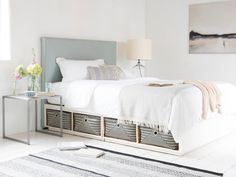 If divan beds aren't your bag but you're after extra storage, then this nifty bed base is just the ticket. You can stash your stuff in the handwoven baskets! Furniture, Bedroom Sets, Twin Bed With Drawers, Home Decor, Platform Bed Designs, Bed, Divan Bed, Bed With Drawers, Bed Frame With Drawers