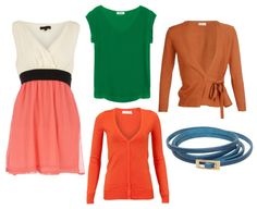 V-neck, U-Neck and wrap Around - opt for V-neck tunics or v-neck tops that hit just on your hipbone. If you have a full bust (and especially if you have a short waist) choose U-necklines at midchest or higher to create a longer upper body. Wrap around v-neck cardigans are great to hide a full torso, especially if you´re big in tummy. If you´re a thin apple shape, look for v-neck or u-neck sweaters and cotton tops and add a slim contrast belt for a little waist definition.
