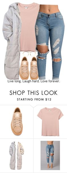 """..."" by trinityannetrinity ❤ liked on Polyvore featuring Puma, Monki and Linda Farrow"