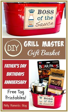 DIY Grill Master Gift Basket under_second_paragraph 114 Do you have a guy who is most at home when grilling? Make this DIY gift basket, just for him! Bbq Gifts, Diy Father's Day Gifts, Grilling Gifts, Father's Day Diy, Diy Christmas Gifts, Christmas Baskets, Christmas Time, Diy Father's Day Gift Baskets, Father's Day