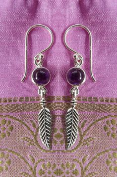 485 Amethyst Feather Earring Solid 925 Sterling Silver Rrp 39 95 Ebay