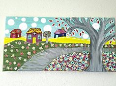 Check out this item in my Etsy shop https://www.etsy.com/listing/462608443/acrylic-town-painting-village-painting