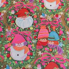 """Vintage Christmas Gift Wrapping Gift Wrap Paper Santa Clause Wreath Children In Snow Snow Man Holiday 2 Sheets 30""""x20"""""""