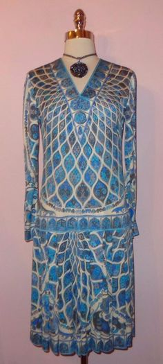 Gorg Vtg 60s Emilio Pucci Op Art Mod Print Silk Jersey Pleated Scooter Dress