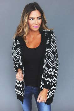 Black/White Geo Sweater Cardi - Dottie Couture Boutique Dottie Couture Boutique, Winter Clothes, Geo, Casual Wear, Winter Outfits, Bomber Jacket, Black And White, My Style, Blouse