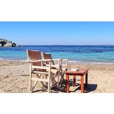 : Reserved seats on the beach with a good read and lots of sunscreen Outdoor Sofa, Outdoor Furniture, Outdoor Decor, Reserved Seating, Sunscreen, Athens, Greece, Journey, In This Moment
