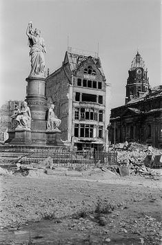 Category: Germaniadenkmal in Dresden - Photo library df ps 0000377 001 Dresden 1945 – victory monument, Kreuzkirche and Rathausturm. German Architecture, Historical Architecture, Beautiful Architecture, Dresden Bombing, Dresden Germany, Interesting Buildings, Berlin, Abandoned Castles, History Museum