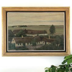 A moody Danish oil painting of fields and farm houses circa 1900 by the listed Danish artist Otto Nielsen who was best known for his naive and beautifully muted. Vintage Picture Frames, Wood Picture Frames, Picture On Wood, Vintage Pictures, Star Painting, European Paintings, Antique Roses, Frame Shop, Danish