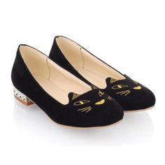 Casual Suede Cat Shape and Rhinestone Design Women's Spring Flat Shoes