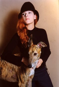 Neko Case with her gorgeous and over all gorgeousness with her gorgeous brindle greyhound rescue pup. SWOON!