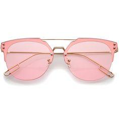 Modern Fashion Ultra Slim Wire Rimless Flat Lens Pantos Sunglasses 58mm