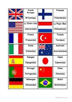 Flags Countries Nationalities, matching activity worksheet - Free ESL printable worksheets made by teachers How To Speak French, Learn French, World Flags Printable, Flag Drawing, French For Beginners, Flashcards For Kids, Countries And Flags, Flag Coloring Pages, Flag Country