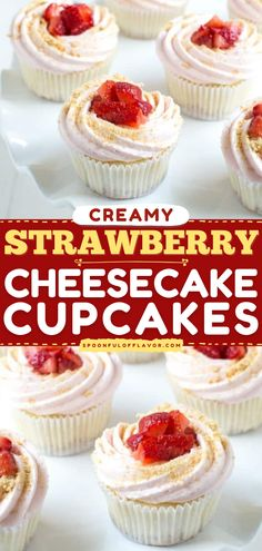 Strawberry Cheesecake Cupcakes are made with fresh strawberries and creamy cheesecake filling. This summer dessert recipe is also a great 4th of July dessert idea! Pin this light and fluffy cupcake idea! Strawberry Cupcake Recipes, Strawberry Cheesecake Cupcakes, Cupcake Flavors, Cupcakes With Strawberries, Strawberry Filling For Cupcakes, Cupcake Fillings, Keto Cupcakes, Strawberry Buttercream, Summer Dessert Recipes