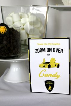 Car Themed Parties, 10th Birthday Parties, 5th Birthday, Race Car Birthday, Race Car Party, Candy Bar Party, Party Favors, Candy Signs, Courses