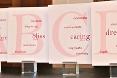 """""""love letters"""" for your reception tables - sweet personalized idea!"""
