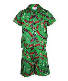 Take a look at this Green Train Pajama Set - Toddler & Boys by Mini ZZZ on #zulily today!