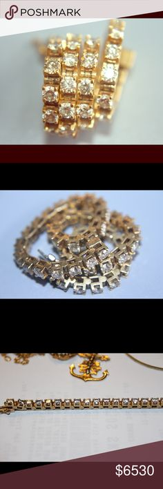 Vintage, authentic❤️ diamond and gold bracelet Total weight: ~5.25 carats. Each stone is about 0.12, and there's 44 of them. 14k gold. Beautiful bracelet. So elegant!  great condition. Jewelry Bracelets