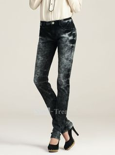 Black Rock and Roll Fashion Jeans