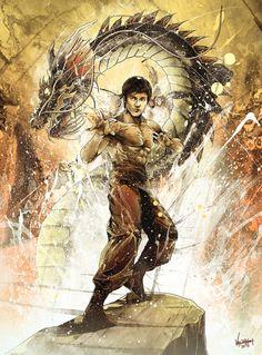 Yellowmenace: ART: Bruce Lee - The Dragon Immortalized Arte Bruce Lee, Kung Fu, Brice Lee, Bruce Lee Martial Arts, Bruce Lee Photos, Jeet Kune Do, Brandon Lee, Enter The Dragon, Art Anime